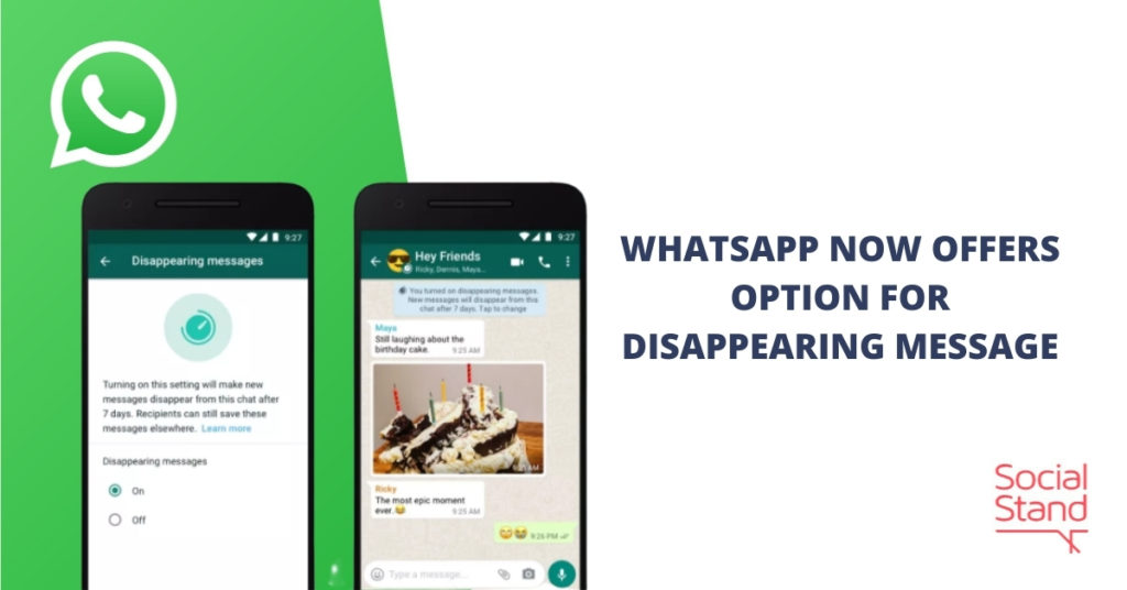 WhatsApp Now Offers Option for Disappearing Messages
