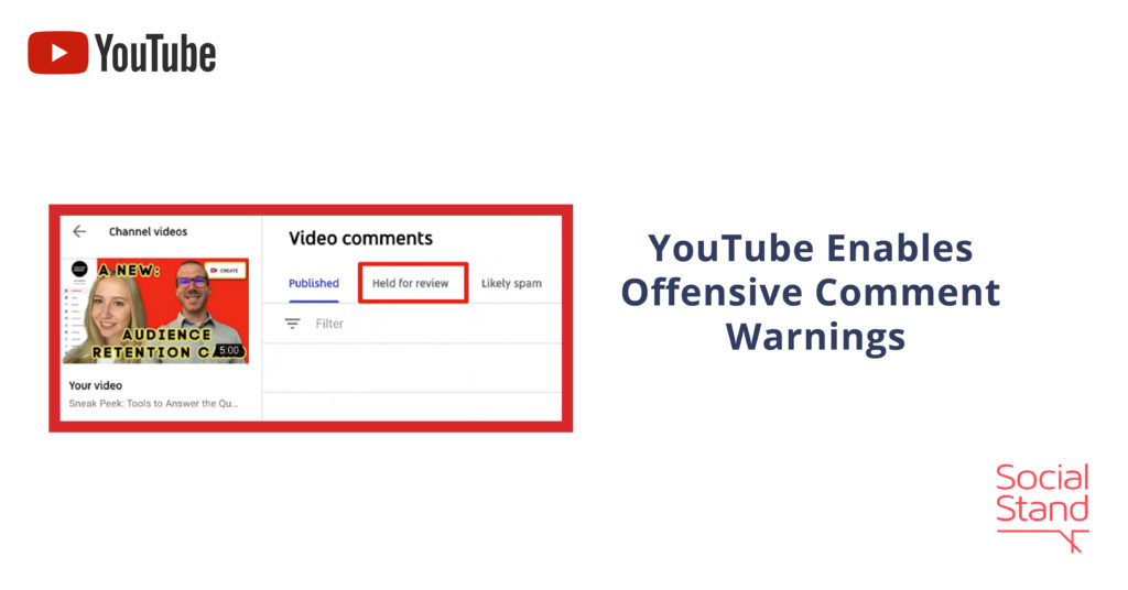 YouTube Enables Offensive Comment Warnings