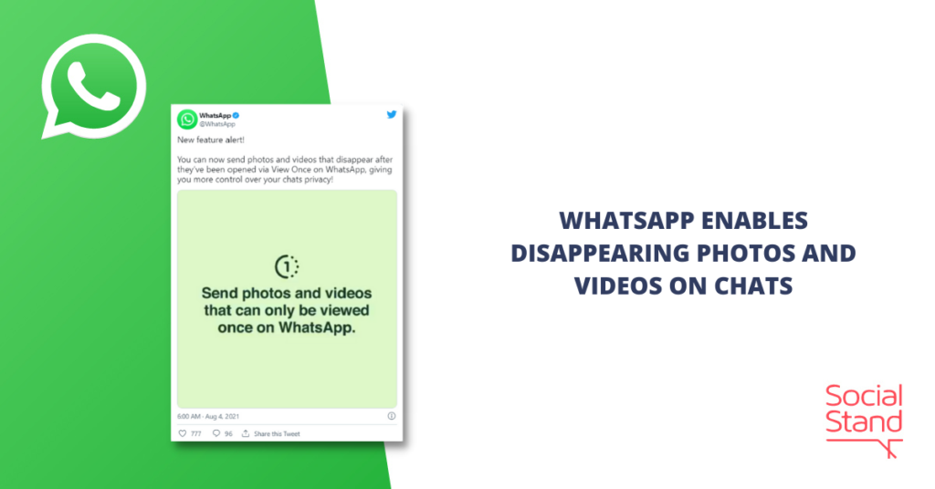 WhatsApp Enables Disappearing Photos and Videos on Chats