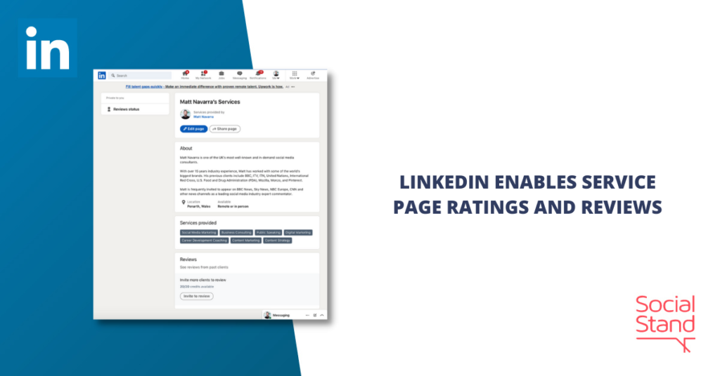 LinkedIn Enables Service Page Ratings and Reviews