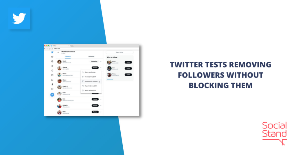 Twitter Tests Removing Followers without Blocking Them