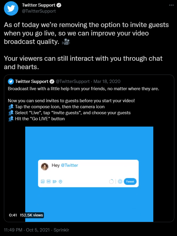 Twitter Disables Inviting Guests on Live Streams